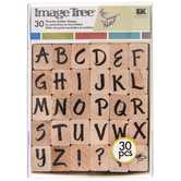 Upper Case Brush Alphabet Rubber Stamps